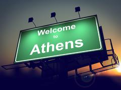 Stock Illustration of Billboard Welcome to Athens at Sunrise.