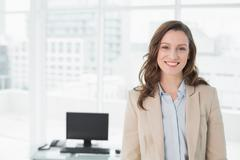 Portrait of an elegant smiling businesswoman in office Stock Photos