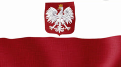 Flag of Poland, country of Europe. Stock Footage