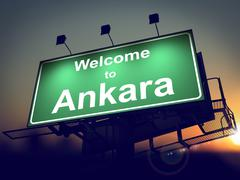 Billboard Welcome to Ankara at Sunrise. Stock Illustration