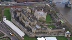 Aerial view of the Tower of London and the iconic Tower Bridge Stock Footage