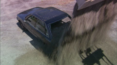 Dump Gravel in Car Trunk High Angle - stock footage