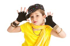 dancer: hip hop dancer makes jazz hands - stock photo