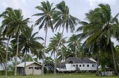 Destroyed house from cyclone pat  in aitutaki lagoon cook islands Stock Photos