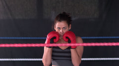 Sporty determined brunette boxing Stock Footage