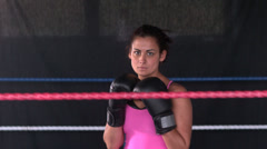 Sporty serious brunette boxing Stock Footage