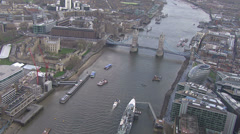 Aerial view of the iconic landmark that is Tower Bridge in London Stock Footage