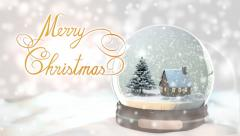 Snow-Globe-white-Merry Christmas Stock Footage