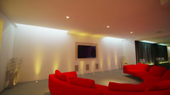 Interior view of a luxurious contemporary home television viewing area Stock Footage