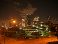 Downtown Houston at Sabine and Memorial Stock Footage