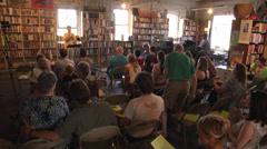 Book store audience speaker Stock Footage