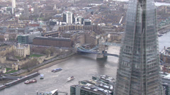 Aerial view of the iconic landmark that is Tower Bridge in London - stock footage
