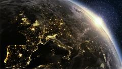 Planet earth Europe zone with night time and sunrise Stock Footage