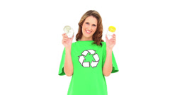 Stock Video Footage of Smiling environmental activist showing jars