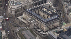 Aerial view above the Bank of England, London, UK Stock Footage