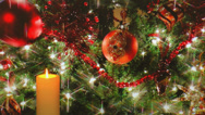 Stock Video Footage of Golden candle with holiday tree decorations in background