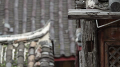 Traditional Chinese buildings in rain Stock Footage