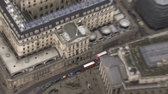 Aerial view above the Bank of England, London, UK - stock footage