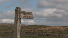 Public Footpath sign on Blea Moor, Yorkshire Dales Stock Footage