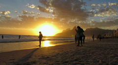 Sunset at Ipanema Beach, Rio de Janeiro, Brazil - stock footage