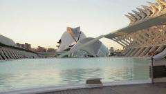 Stock Video Footage of Pan shot of modern architecture of City of Arts and Sciences in Valencia HD