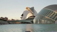 Pan shot of modern architecture of City of Arts and Sciences in Valencia HD Stock Footage