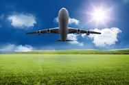 Stock Illustration of 3D plane taking off over grassland