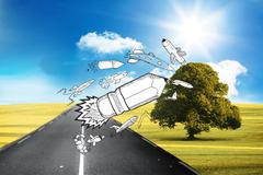 Stock Illustration of Drawn pencil rocket in front of countryside