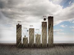 Statistic on sky background - stock illustration