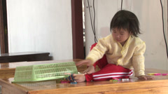 Lahu Hilltribe Kid Playing With Toys In Chiang Mai Thailand Stock Footage