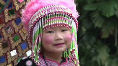 Lahu Hilltribe Kid Poses For Camera in Rural Thailand Stock Footage