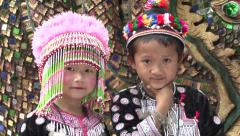 Lahu Hilltribe Kids Pose For Camera In Thailand Stock Footage