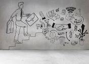 Stock Illustration of Grey wall with comic man and graphics