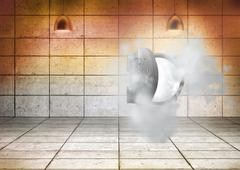 Open safe in dust cloud in grey room - stock illustration