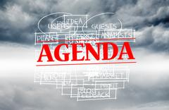 Stock Illustration of Agenda stamped over words written on sky background