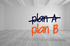 Plan a crossed out and plan b written in bright room Stock Illustration