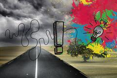 Stock Illustration of Colourful light bulbs graphic on gloomy countryside
