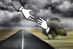 Two hands graphic on gloomy countryside - stock illustration