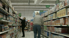 Woman shopping in breakfast cereal section store POV HD 1122 Stock Footage