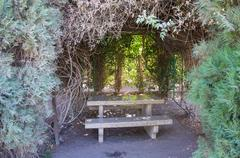 Stone picnic table surrounding by bushes Stock Photos