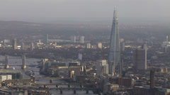 Stock Video Footage of Panoramic aerial view above the city of London and the river thames