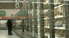 Bread frozen food section grocery store POV HD 1122 Stock Footage