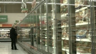 Stock Video Footage of Bread frozen food section grocery store POV HD 1122