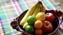 Beautiful fruit on a table Stock Footage