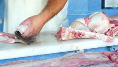 Fish Shop Cutting Dolly Stock Footage