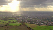 Panoramic aerial view over England where the city meets the countryside Stock Footage