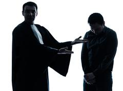 lawyer man and his client pleading silhouette - stock photo