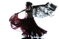 arabic woman belly dancer dancing silhouette - stock photo