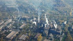 Factory district aerial view Stock Footage