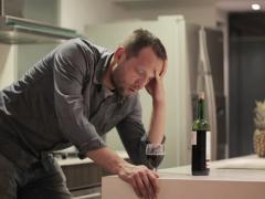 Young man trying to quit drinking, alcoholism concept NTSC - stock footage